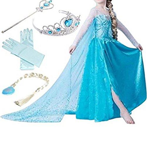 tei Kostüm Prinzessin Kleid Prinzessin Kleid Kostüme Eiskönigin Prinzessin Kostüm Kinder Kleid Mädchen Weihnachten Verkleidung Karneval Party Halloween Fest, Blau, Gr. 130 (Kinder Catwoman Outfit)