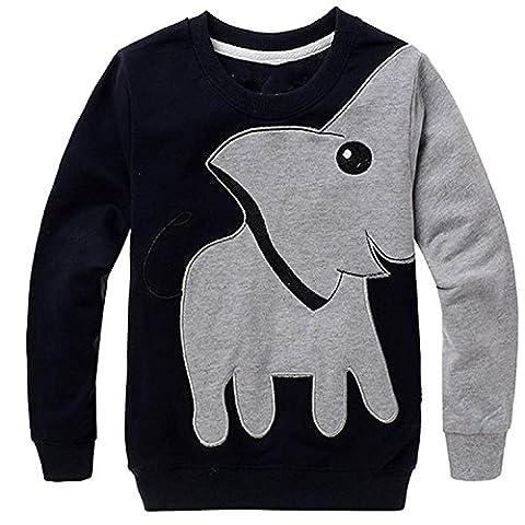 Garsumiss Bébé Garçons Enfants Pull à manches longues pour Enfants Éléphant longues Tops SweaterShirt
