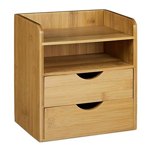 Relaxdays Schreibtisch-Organizer HBT: 21x20x13cm Ablagesystem aus Bambus für den Schreibtisch Organizer mit 2 Ablagen und 2 herausnehmbaren Schubladen Aufbewahrungsbox als Briefablage fürs Büro, natur - 3