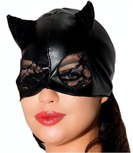 Cat mit Spitze Katze Maske in schwarz Katzen Halbmaske MK03 Cat Tiermaske Sexy Augenmaske von MeSeduce Dessous ()