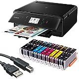 Canon PIXMA TS6050 3 in 1 Multifunktionsdrucker (Drucken, Scannen, Kopieren, WLAN, Duplex, 4.800 x 1.200 dpi) mit 10 EasyInk Patronen, USB-Kabel