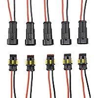 INIBUD 5paia 2Pin Way auto impermeabile connettore elettrico Presa Kit con cavo di 16–18AWG Gauge per auto moto