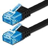 1aTTack.de 1m - Cat6a Piatto Cavo di Rete Cat 6a (500 MHz) Nero - 1 Pezzo (Cat 6a) Ethernet - Extra throughput di Dati ad Alta Compatibile con cat5 cat6 cat7 cat8