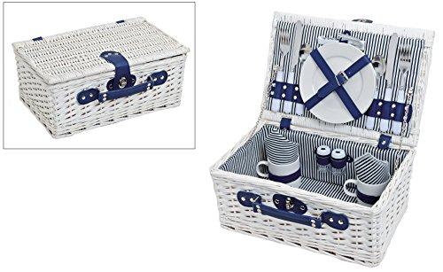 Couple panier de pique-nique bleu/blanc rayé de pique-nique pour 2 personnes 16 pièces