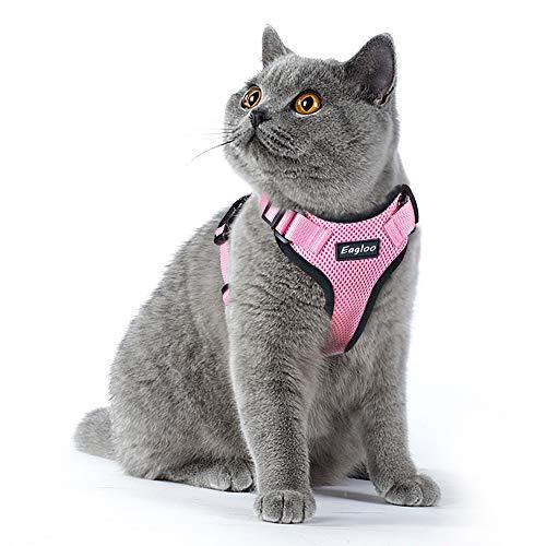 Eagloo Geschirr für Katzen Katzengeschirr Kleine Katze Katzengarnitur Ausbruchsicher Welpengeschirr Soft Kaninchengarnitur Katzenweste Verstellbar Schutz Kitten Hunde Cat Harness Upgrade Rosa XS -
