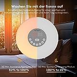 Lichtwecker VAVA 6W Wake Up Licht, Wake Up Light mit 7 Farbige LED Lichter, 6 Alarm Töne, 10 Helligkeitsstufen, Sonnenaufgang Simulation für ein natürliches Erwachen