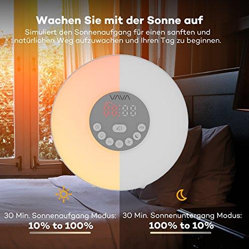 Lichtwecker VAVA 6W Wake Up Licht Wecker, Wake Up Light mit 7 Farbige LED Lichter, 6 Alarm Töne, 10 Helligkeitsstufen, Sonnenaufgang Simulation für ein natürliches Erwachen