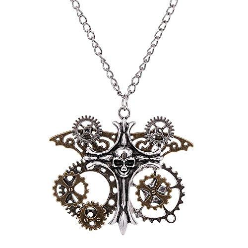 Colgante cruz Steampunk con cráneo