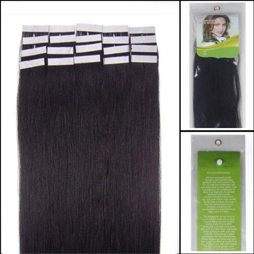 Retty Lot de 20 extensions de cheveux humains droits Marron clair 30 g 40,6 cm
