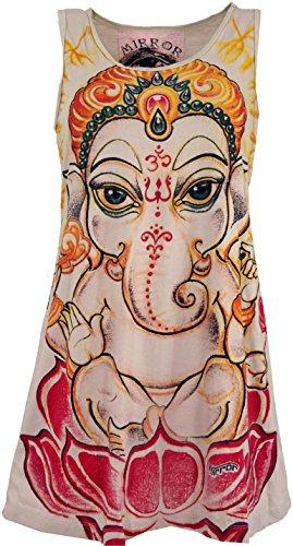 Guru-Shop Mirror Top, Longshirt, Minikleid, Damen, Baby Ganesh/Beige, Baumwolle, Size:M (38), Bedrucktes Shirt Alternative Bekleidung