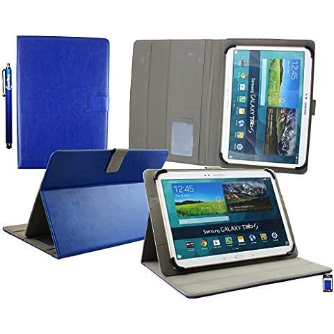 Emartbuy® Energy Sistem Neo 3 Lite Tableta PC 10.1 Pulgada Universal Serie ( 10 - 11 Pulgada ) Azul Ángulo Múltiples Ejecutivo Folio Carcasa Wallet Case Cover Con Ranuras Para Tarjetas + Lápiz Óptico