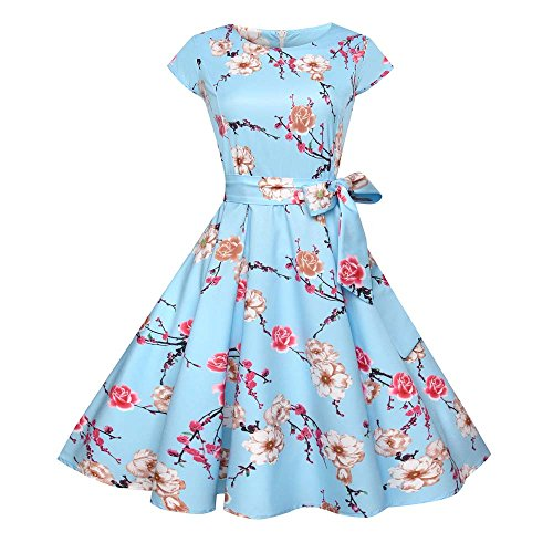 TEBAISE Damen Vintage 1950er Cap Sleeves Retro Dot Einfarbig Rockabilly Swing Kleider Frühling Sommerkleider Karneval Fasching Cocktailkleider Abendkleid Partykleid Knielang