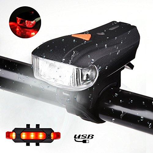ACUMSTE LED oplaadbare USB fietsverlichting, 400 Lumens Super Bright IP68 waterdichte koplampen voor en achter met 5 fietslichtmodi, rood en wit