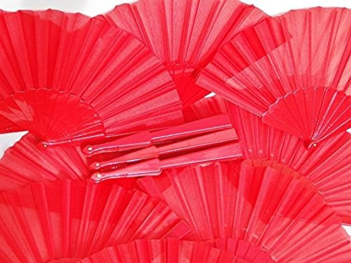 Abanicos español tradicional 12 flamenco, color rojo