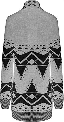 WearAll - Aztèque Motif d'impression haut à manches longues dames tricoté Cardigan ouvert - Pullover - Femmes - Tailles 36 à 42 Gris Clair