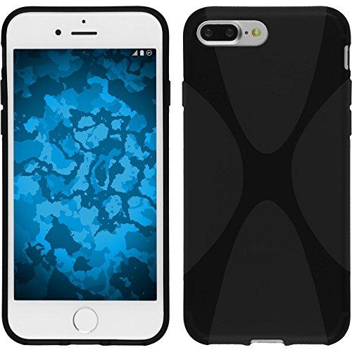 PhoneNatic Case für Apple iPhone 7 Plus Hülle Silikon lila X-Style Cover iPhone 7 Plus Tasche + 2 Schutzfolien Schwarz