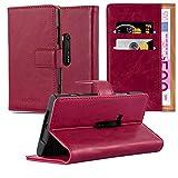Cadorabo Hülle für Nokia Lumia 920 - Hülle in Wein ROT – Handyhülle im Luxury Design mit Kartenfach und Standfunktion - Case Cover Schutzhülle Etui Tasche Book