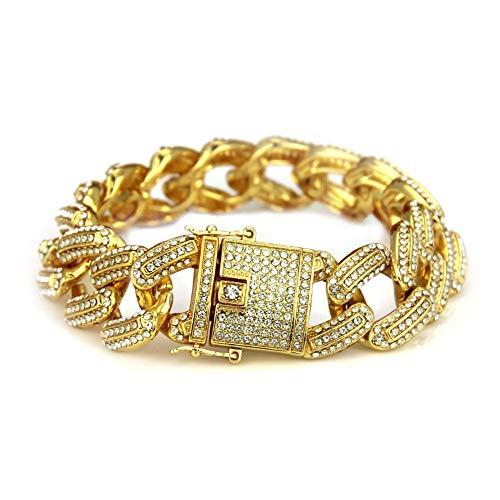 Braccialetto A Catena Set Bracciali Uomo Diamond Cool Fashion Esagerato Bracciale Hip-Hop Full Diamond 21 Cm