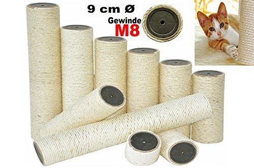 nanook Sisalstamm Ersatzstamm für Kratzbäume - Verschiedene Längen - Durchmesser 9 cm Ø für Gewinde M8 - Länge 25 cm