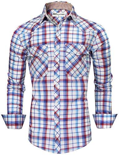 HRYfashion - Chemise habillée - À Carreaux - Col Boutonné - Manches Longues - Homme Rouge