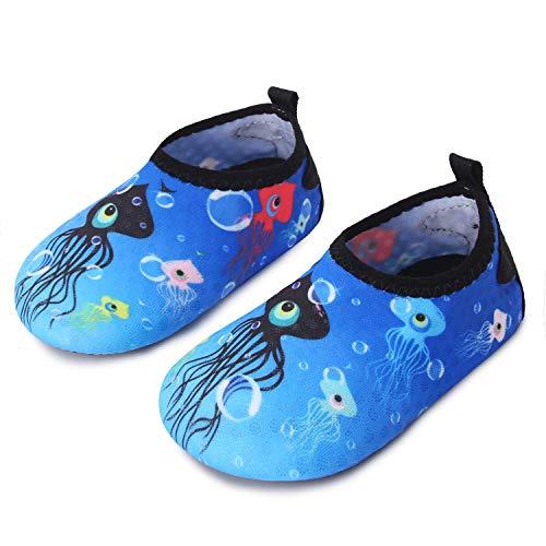 JIASUQI Slip-on Water Schuhe Anti-Rutsch Aqua Socken Breathable Strand Swim im Freien Weiche Schuhe für Baby, Blaue Krake 6-12 Monate
