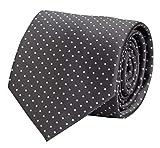 Fabio Farini graue, klassische 8 cm Krawatte mit weißen Punkten, für Hochzeit, Arbeit oder Abschlussball