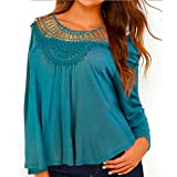 YANG YI Clearance Offer Women's Casual Stylish Cotton Solid Round Neck Long Sleeves Lace Openwork Tops T-Shirts & Shirts