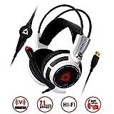 KLIM Puma - Micro Casque Gamer - Son 7.1 - Audio Haute Qualité - Vibrations intégrées - Parfait pour Gaming PC et PS4 Blanc