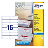 Avery J8162-25 Etichette Quick Dry, 16 Pezzi per Foglio, 25 Fogli, 99.1 x 33.9, Bianco,