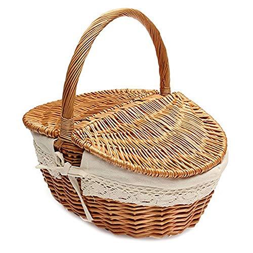 CUHAWUDBA Weiden Korb, Der Englischen Land Haus Stil Kampierenden Picknick Korb Einkaufs Korb Macht