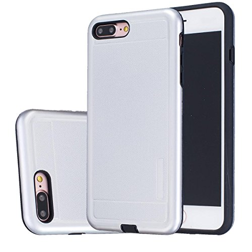 """MOONCASE iPhone 7 Plus Étui, Double Couche Hybride Soft TPU Intérieur + Anti-Dérapant Coque PC Robuste Anti-Scratch Antichoc Housse Etui de Protection Case pour iPhone 7 Plus 5.5"""" Violet Argenté"""