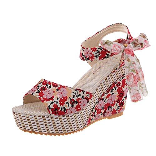 Beauty-luo sandali donna con tacco sandali open toe sexy con zeppa in pizzo da donna, scarpe col tacco alto da donna, sandali donna eleganti (35, c)
