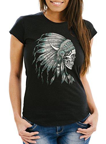 Damen T-Shirt, Indianer Federn Häuptling Totenkopf Skull Feather,Slimfit aus weicher Baumwolle Neverless® Schwarz