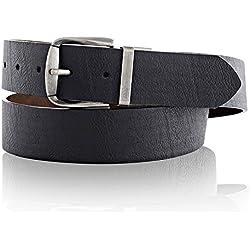 LUCHENGYI Cinturón Ancho del Cuero con Hebilla Reversible Doble Cara en 2 Colores de Moda para Hombres 40mm 120cm