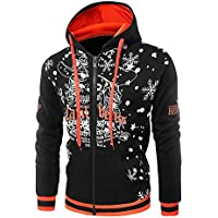 ZIYOU Männer Pullover mit Kapuze für Christmas, Herren Outwear Hoodie Jacket Coat Winter Long Sleeve Zipper Mantel preisvergleich bei billige-tabletten.eu
