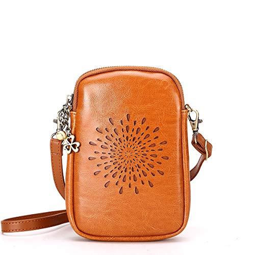 NEVEROUT Damen Jahrgang Aushöhlen Stil Handytasche Mini Leder Schulter/Messenger/Umhängetasche Flap Bag Schwarz/Rot/Braun (NP2287) (Brown) -