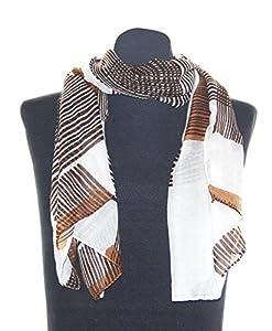 Weißer Damenschal Maren, ca. 90 x 180 cm, Damentuch mit hell braunen und schoko Streifen, trendiges elegantes Damen Schaltuch