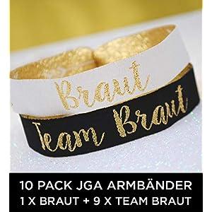 10 x Set Team Braut (GERMAN) JGA Armbänder ~ 1 x Braut + 9 x Team Braut für den Junggesellinnenabschied - Team Bride Wristband - JGA Bracelet