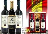 100% Viva Espana | DAS Weingeschenkset für Freunde spanischer Weine | im edlen Goldnetz | Terra Molino Reserva & Don Pedro Gran Reserva | Qualitätsweine mit spanischer Flagge | Spanien in jedem Tropfen | Weingeschenk zum Geburtstag | Exklusiv & Klassich | 3 Flaschen Wein mit Geschenkkarte
