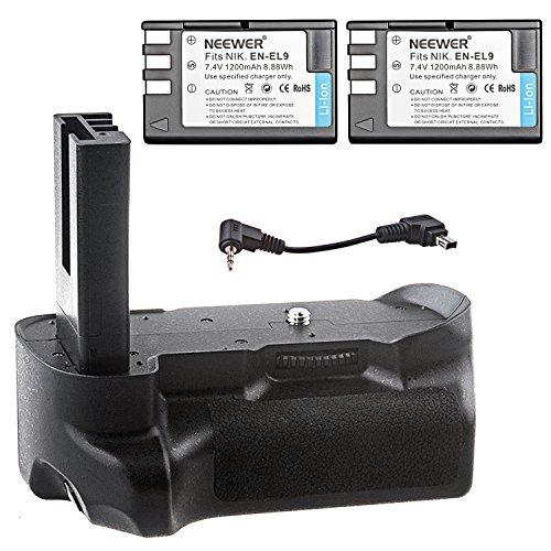 Neewer - Juego de 2 baterías de repuesto EN-EL9/EN-EL9 (7,4V, 1200mAh) + empuñadura de batería con disparador vertical para cámara Nikon D5000