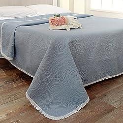 Colcha Manta para Cama Acolchado Cubrecama Vintage Rústico Shabby Chic - Corazones / Ganchillo - 260x260 - Avio - 100% Microfibra