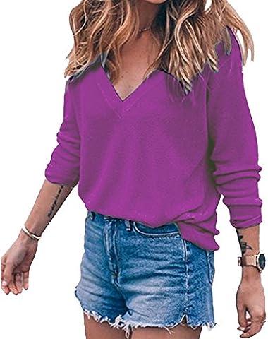 Meyison Damen V Ausschnitt Casual Shirts Knit Pullover Tops Lila-L