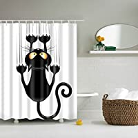 Cortina de ducha impermeable con impresión divertida de gatos, a prueba de moho, con ganchos