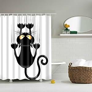 Tenda da doccia design divertente con simpatico gatto impermeabile antimuffa con ganci - Tenda doccia design ...