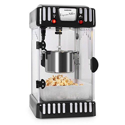 Klarstein Volcano Popcornmaschine - Popcorn-Maker, Popcorn-Bereiter, Retro-Design, 300 Watt, Edelstahl-Topf, Innenbeleuchtung, ca. 60 l/h, schwarz