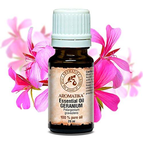 Geranium Ätherisches Öl 20ml - Pelargonium graveolens - Ägypten - 100% Reine & Natürliche Geraniumöl - Rose Geranium für Aromatherapie - Aroma Diffuser - Duftlampe - Aromatisches Bad - Raumduft (Rosen-aroma)