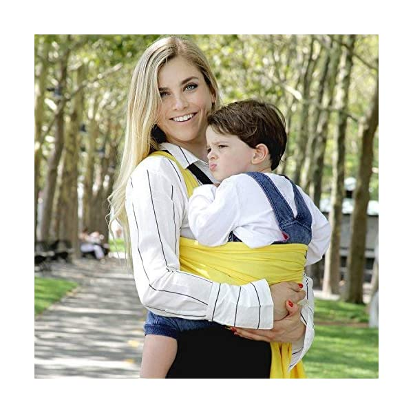 9-in-1 CuddleBug Baby Wrap Sling + Carrier - Newborns & Toddlers up to 36 lbs - Hands Free - Gentle, Stretch Fabric - Ideal for Baby Showers - One Size Fits All (Yellow) CuddleBug 9 WRAPS IN ONE - 9 different ways to comfortably carry your baby HANDS FREE! Newborn hold, breastfeed sling, front carry, side carry, back carry, cross carry, hip carry, kangaroo carry, side sling. GET THINGS DONE WHILE BONDING - Develop strong emotional bonds and constant stimulation with the flexibility and freedom to go where you want and get things done. COMFORTABLE AND SECURE - Support your baby in this MACHINE WASHABLE buckle-free, ring-free, Premium blend of 95% Cotton, 5% spandex. As gentle as wearing a T-shirt but strong enough to support your baby's head. 10