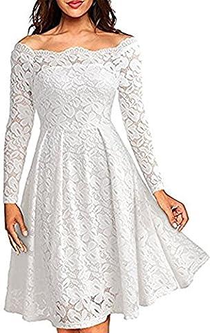 Whoinshop Damen Vintage 1950er Off Schulter Cocktailkleid Retro Spitzen Schwingen Pinup Rockabilly Kleid Weiß
