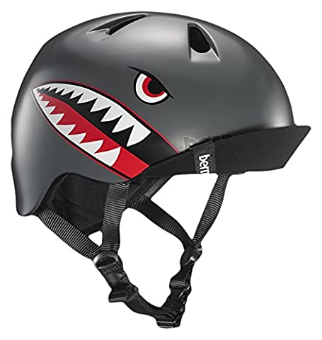 Bern Boy Nino Cycling and Skate Helmet, Satin Grey Flying
