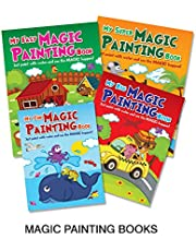 Set of 4 MAGIC OF COLOURING BOOKS (My Fun Magic Painting Book, My Super Magic Painting Book, My Big Magic Painting Book, My Easy Magic Painting Book)